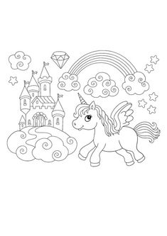 Winged unicorn rainbow coloring page Emoji Coloring Pages, Birthday Coloring Pages, Mermaid Coloring Pages, Cool Coloring Pages, Mandala Coloring Pages, Free Printable Coloring Sheets, Coloring Sheets For Kids, My Little Pony Unicorn, Cat Colors