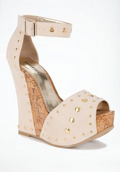 a819fc645855 Imelda Studded Cork Wedge - Inject your summer collection with a playful  pop of glam in this pair of bebe sandals