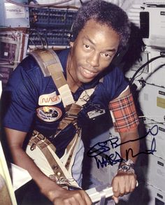 """Dr. Guion Stewart """"Guy"""" Bluford, Jr. (born November 22, 1942), is a NASA astronaut and became the first African American in space as a member of the crew of the Space Shuttle Challenger, in 1983."""
