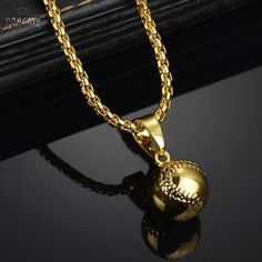 High Quality  Gold Color Hiphop Baseball Pendant Necklace Hip Hop Long Chains Necklaces for Men Punk Jewelry Birthday Gifts