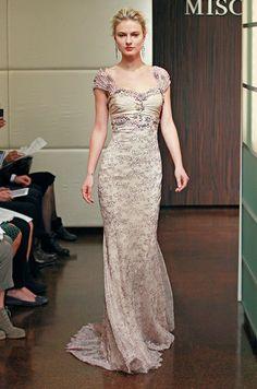 Purple & nude wedding dress from Badgley Mischka, Fall 2013