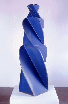 John Mason (b. 1927). Blue Figure, 2002. Ceramic, 59 × 23 ¾ x 23 ¾ in. (149.9 × 60.3 × 60.3 cm). On display at the 2014 Biennial of the Whitney Museum of American Art, New York.