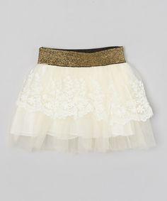 Another great find on #zulily! White Lace Skirt - Toddler & Girls #zulilyfinds
