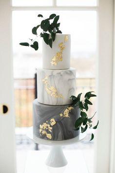 Marble Wedding Cake - Modern Wedding Cake with Golden Spots and Greenery . - Marble Wedding Cake – Modern Wedding Cake with Golden Spots and Foliage {Emily B … – Wedding - White Wedding Cakes, Elegant Wedding Cakes, Beautiful Wedding Cakes, Wedding Cake Designs, Trendy Wedding, Elegant Cakes, Floral Wedding, Wedding Rustic, Wedding Cupcakes