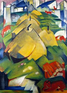 Franz Marc ~ Alpine Scene (Haystacks), 1912 LOVE his pastel horses, which used to hang in my office! Marc had torn the canvas into equal parts to cover his windows during WW1. Restored to its magnificence!