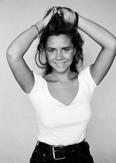 A young Victoria Beckham at the beginning of her career. It's a shame she doesn't smile anymore.
