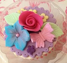 My Beautiful Butterfly & Flowers Cupcake