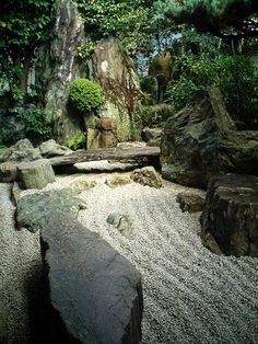 Dry landscape garden, Daisen-in Temple, Kyoto, Japan. Daisen-in (大仙院?) is a…