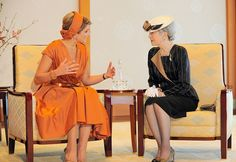 Queen Máxima and Empress Michiko, October 29, 2014 | Royal Hats....Posted on October 29, 2014 by HatQueen.....King Willem-Alexander and Queen Máxima of the Netherlands arrived in Tokyo today for the start of a four day tour of Japan.
