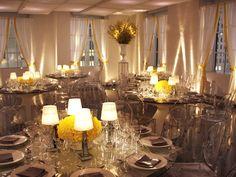 Love the ghost chairs and mirrored tables!   Indoor Reception Space at 620 Loft & Garden   #620LoftAndGarden #RockfellerCenter   NYC Venue   NYC Wedding