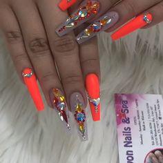 Elegant Rhinestones Coffin Nails Designs - New Ideas bright orange bling coffin nails bright orange bling coffin nails Bling Acrylic Nails, Summer Acrylic Nails, Best Acrylic Nails, Glam Nails, Hot Nails, Aycrlic Nails, Acrylic Nail Designs, Coffin Nails, Bright Acrylic Nails