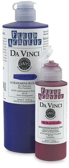 Da Vinci Fluid Acrylics are an exciting fusion of Da Vinci's most distinguished watercolor hues, and colors traditionally found on acrylic palettes.  This color range of professional fluid acrylic colors promises to awe those who appreciate pigment strength and vibrancy. Try them on a variety of oil-free surfaces such as canvas, paper, wood, or plaster.
