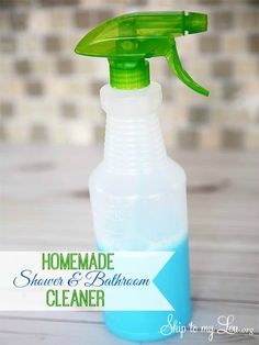 This homemade bath and shower cleaner recipe is amazing. Clean your shower naturally with stuff you have at home! www.skiptomylou.org #showercleaner #naturalcleaners #cleaning #cleaningtips