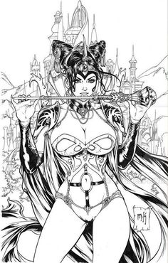 Sexy fantasy art women grimm fairy tales ideas for 2019 Fantasy Art Women, Fantasy Girl, Sexy Drawings, Art Drawings, Drawing Art, Adult Coloring Pages, Coloring Books, Colouring, Arte Dc Comics