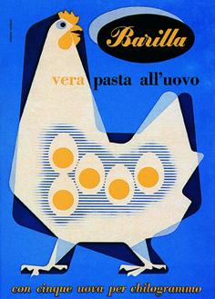 Like: shape, minimalism. [Advertising poster for Barilla by Italian graphic & industrial designer Erberto Carboni via tiragraffi] Vintage Graphic Design, Retro Design, Graphic Design Illustration, Graphic Design Inspiration, Bird Graphic, Posters Vintage, Retro Poster, Vintage Advertisements, Vintage Ads