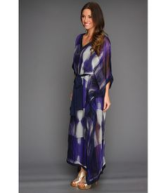 Halston Heritage Three-Quarter Sleeve Caftan Dress Violet Illusion Stripe - 6pm.com