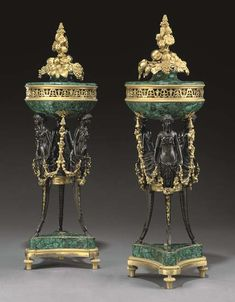 A PAIR OF LOUIS XVI STYLE ORMOLU, PATINATED BRONZE AND MALACHITE BRULE-PARFUMS BY HENRY DASSON, PARIS, LAST QUARTER 19TH CENTURY, THE MALACHITE VENEERS LATER