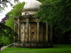 The Temple of Apollo, a folly built in the gardens at Stourhead, at Stourton near Warminster in Wiltshire, that Darcy makes his first unsuccessful proposal to Elizabeth in the pouring rain .....