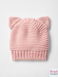 Baby Hat Knitting Pattern, Baby Hat Patterns, Baby Hats Knitting, Knitting For Kids, Knitting Patterns Free, Knit Patterns, Free Knitting, Knitted Hats, Diy Crafts Knitting