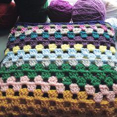 Granny square scrapghan. #crochet #hooker #grannysquare #scrapghan
