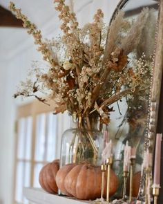 Fall Home Decor, Autumn Home, Autumn Mantel, Dried Flower Bouquet, Dried Flowers, Large Flower Arrangements, French Country Cottage, Country Fall, Fall Flowers