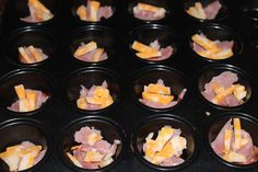 Canadian bacon or turkey bacon, lowfat cheese and eggs mixed with egg beaters in muffin cups. Add veggies if desired. Bake 30 min using mini muffin pans.  SB phase 1