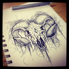 Ram skull doodle Más
