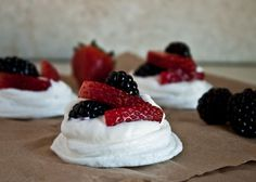 Mixed Berry Mini Pavlovas  with whipping cream and fresh berries - lovely!