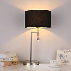 ONEPRE Modern Chrome Table Lamps Bedside Lamp with Swing Arm Led Reading Light for Bedroom Living Room, Cylinder Black Lampshade, 2 Switches: Amazon.co.uk: Lighting
