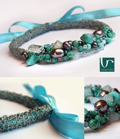 Wire crocheted silver cylindrical necklace with a mixture of turquoise beads and gemstones www.vargareka.com