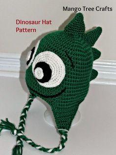 FREE Pattern - Dinosaur earflap hat