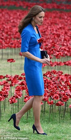 The sea of red poppies to honour the Glorious Dead: William, Kate and Harry add to the 888,246 ceramic flowers planted at the Tower of London.
