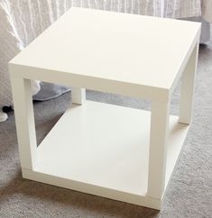 "clever use of Ikea's LACK side tables. Put two together and make it ""fancier."" from Iheartorganizing"
