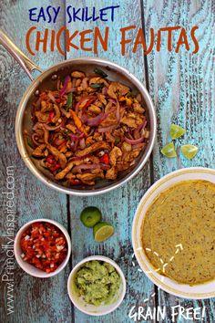 Easy Skillet Chicken Fajitas (Grain Free, Paleo) from Primally Inspired
