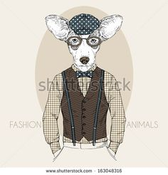 Hand Drawn Fashion Illustration of Doggy in colors