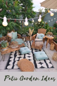 Cozy nature-filled outdoor patio area with string lights - Modern Design Outdoor Living, Outdoor Decor, Patio Design, Backyard Patio, Cozy Patio, Pergola Patio, Gazebo, Room Colors, Cheap Home Decor