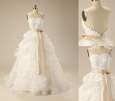 Elegant Ball Gown Organza&Satin Spaghetti Strapless Sweep Train Wedding Dress Wedding Dress Train, Wedding Dresses, Elegant Ball Gowns, Bridal Gowns, Spaghetti, Satin, Fashion, Lace Up, Bride Dresses