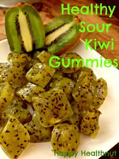 "healthysourkiwiwgummies ""8 ripe kiwi fruits Juice of 1 lemon 2 tbsp raw honey 6 tbsp grass fed gelatin"" add some pection or more gelatin or agar agar instead of honey"
