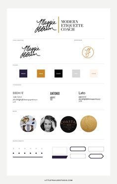 Style guide for Maggie Oldham rebrand by Little Trailer Studio. Click through to see full brand identity.