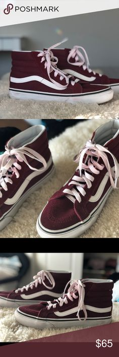 f2b5973a3db burgundy high-top vans it has been worn 3 times and is in good condition  Vans Shoes Sneakers