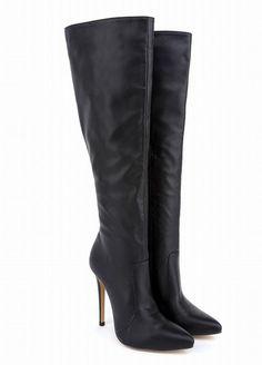 32854cd50336 Black High Heel Side Zipper Women Tall Boots Warm Boots