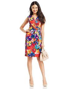 Ellen Tracy Floral-Print Faux-Wrap Dress