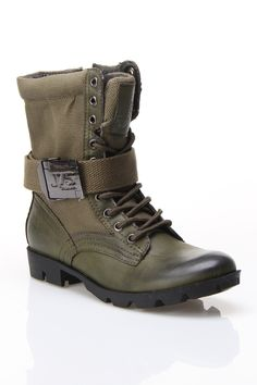"""Strong W Boots in olive lby J75 $89 $55 @Beyond the Rack. Lace up detail at upper. Wraparound belt embellishment. Side zip closure. Lug sole. 8"""" Height, 12"""" Circumference. 51% Polyurethane, 49% Cotton Fabric Upper, Rubber Sole,"""