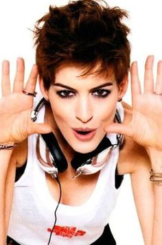 Anne Hathaway.  She looks so much cuter with short hair than long hair.....my thoughts.