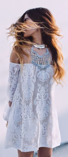 For Love And Lemons White Embroidery Off Shoulder Dress by Little Black Boots