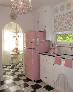 Retro Kitchens | Rebel Circus -- Love the powder blue nook with the red accents and checkerboard rug!! Retro is such a cute idea