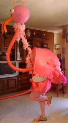 Disfraz de flamenco rosa, ganador del Concurso de Disfraces de Carnaval