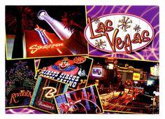 Las Vegas Postcard Nevada Stratosphere Riviera Circus Circus Ballys Binions New