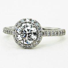 Halo Diamond Ring with Side Stones (1/3 ct.tw.), set with 1.00 carat diamond.  #BrilliantEarth