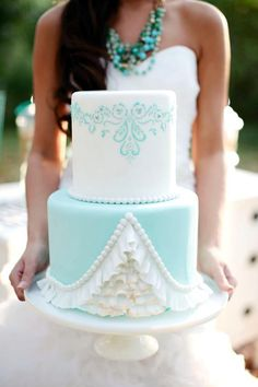 Pretty Aqua & White Wedding Cake #WeddingCakes www.finditforweddings.com